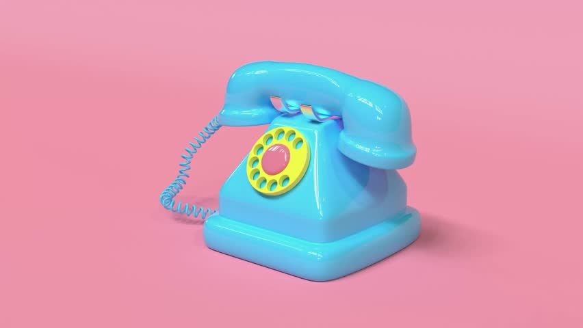 3d rendering blue old telephone pink background cartoon style