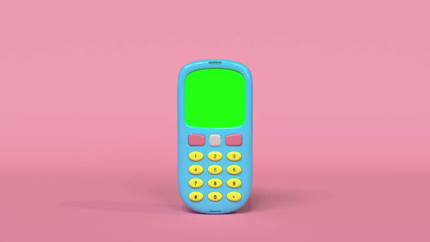old mobile phone 3d rendering cartoon style green screen pastel