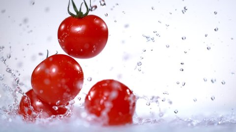 Tomatoes Falling To Water In Super Slow Motion at 1000fps.