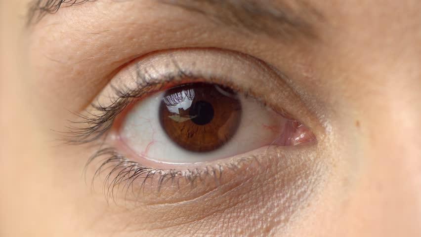 Close up beautiful brown eye opening human iris macro natural beauty, woman, macro | Shutterstock HD Video #1028087855