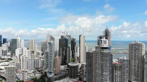 Cinematic aerial view of Panama city skyline in Panama, Central America