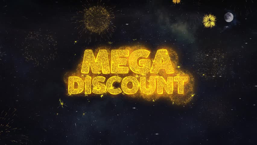 Mega Discount Text Typography Reveal From Golden Firework Crackers Particles Night Sky 4k Background. Greeting card, Celebration, Party, Invitation, Gift, Event, Message, Holiday, Wish, Festival  | Shutterstock HD Video #1028090405
