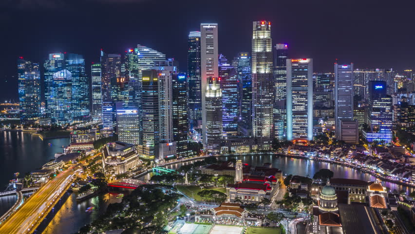 Singapore Timelapse view showing skyline with Esplanade Drive and waterfront at night | Shutterstock HD Video #1028124725