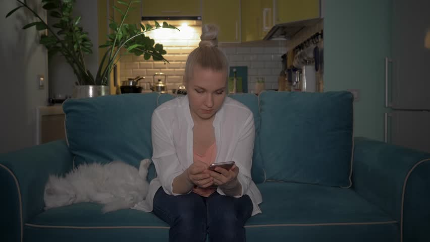 A young woman uses the phone sitting on the couch in the evening with a cat. The girl read the good news on the phone. 4K   Shutterstock HD Video #1028129735
