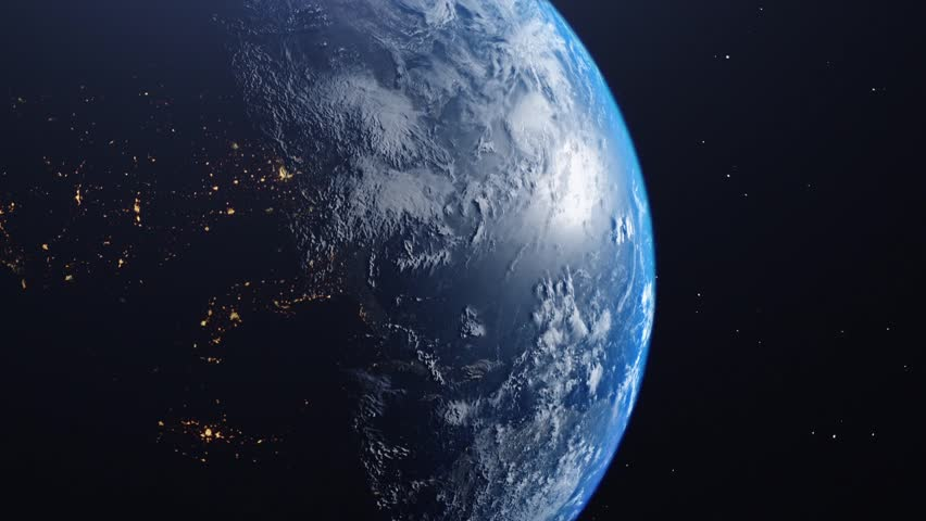CG shot earth from space framed left side Africa and continents, cloud layer, star universe background sun reflection on atmosphere | Shutterstock HD Video #1028141585