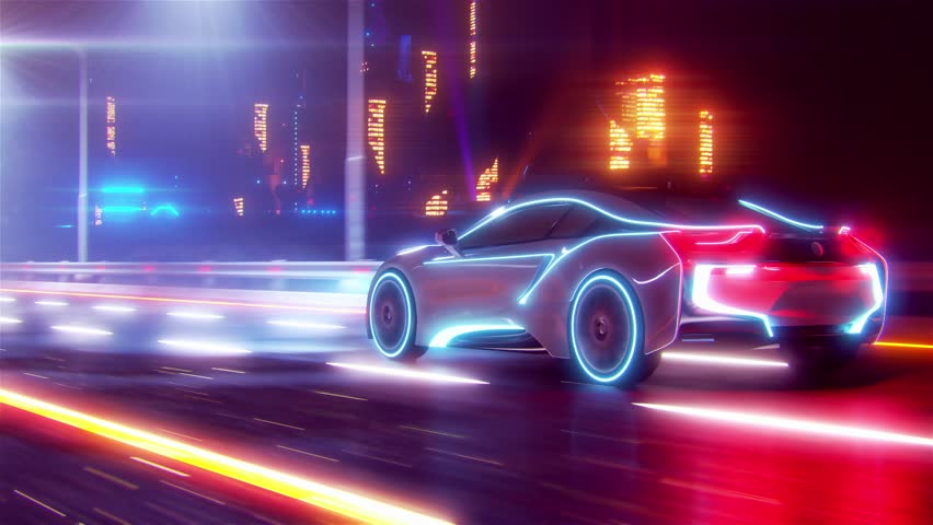 Future car going on the road 4k animation | Shutterstock HD Video #1028161355