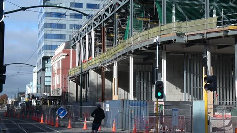 Christchurch, Canterbury / New Zealand - 04 25 2019: Building in progress of the new Te Pae convention centre, steel frame construction being assembled.