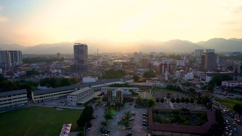 IPOH,MALAYSIA-24.4.2019 - Aerial Footage Of Ipoh CIty During Rush Hour.Ipoh Is One Of Malaysia Main City That Listed On Lonely Planet.