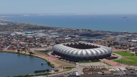 Port Elizabeth, South Africa - circa 2010s: Aerial view of city from Nelson Mandela Bay Stadium, looking north, toward Deal Party, Bluewater Bay and New Brighton suburbs. Swartkops River mouth visible