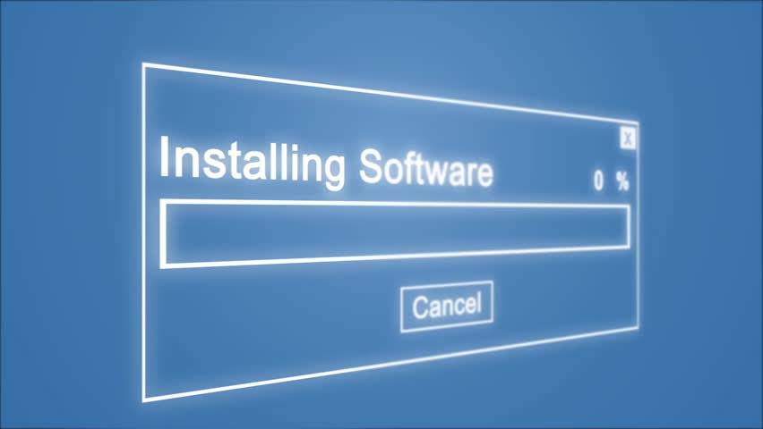 Installing Software Process Animation on Blue Background | Shutterstock HD Video #1028308475