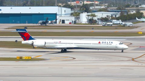 FT. LAUDERDALE, FL - 2019: Delta Air Lines MD-90 Commercial Regional Jet Airliner Taxiing at Fort Lauderdale Hollywood FLL International Airport on a Sunny Day in South Florida