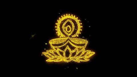Deepak Diya Lamp Typography Written with Golden Particles Sparks Fireworks Display 4K Background