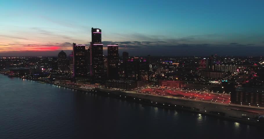 Detroit Skyline Michigan at sunset aeria