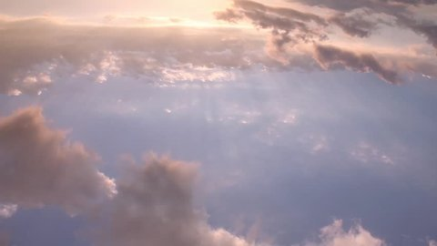 Airplane view time lapse clouds in horizon, blue summer sunny weather, formating cloudscape panoramic view. /FHD.
