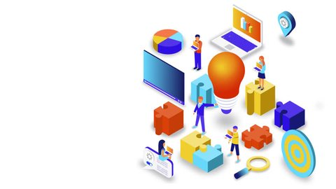 Brainstorming Creative Team Work Isometric Concept Animated. People Flat 3D Isometric Cartoon Concept 4K Video With Anfographic Animation