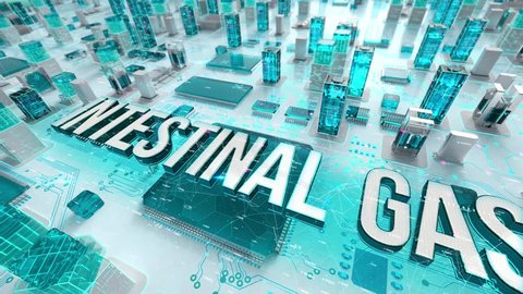 Intestinal Gas with medical digital technology concept