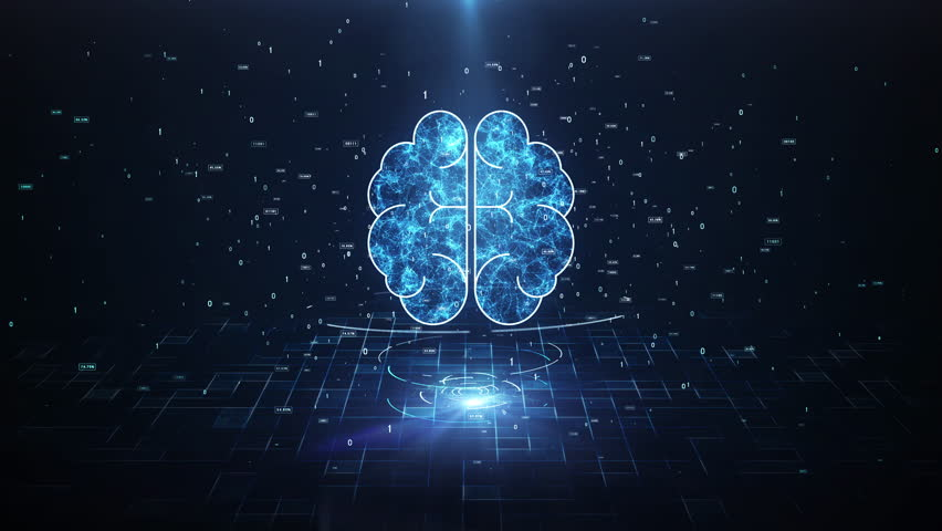 Artificial Intelligence Brain Animation, Big Data Flow Analysis, Deep Learning Modern Technologies Concepts.Neural Connection Visualization. Futuristic Cyber Technology Innovation, Cyber Mind. | Shutterstock HD Video #1028463905