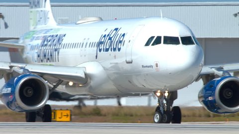 FT. LAUDERDALE, FL - 2019: JetBlue Airbus A320 Commercial Passenger Jet Airliner with Special Livery named Bluemanity Close-up Turning onto Runway Taxiing at  Hollywood FLL International Airport