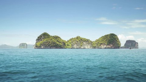 traditional boat and small islands in Krabi province, Thailand