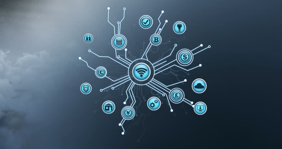 Digital animation of vector icons of wireless internet connectivity at the center, branching out to cryptocurrencies, with cloud programming as background | Shutterstock HD Video #1028546525