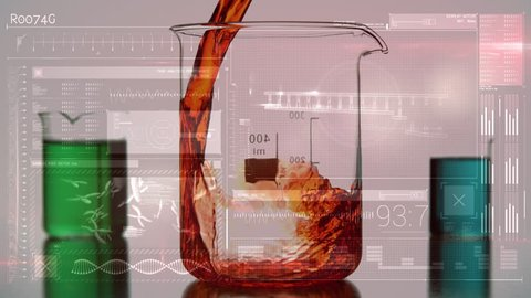 Digital animation of a large beaker being filled with orange liquid, and two other beakers at the back which is already filled with a green and aquamarine liquids. Random moving medical screen