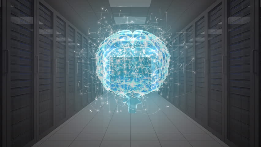 An aisle view of a digital brain with moving particles entering a series of server rooms | Shutterstock HD Video #1028636225