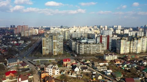 Drone aerial of large residential district in Kiev, Ukraine
