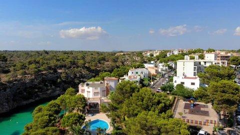 Aerial view, flight at Cala Pi bay, beach and rocky coast, Torre de Cala Pi, Llucmajor municipality, Mallorca, Balearic Islands, Spain