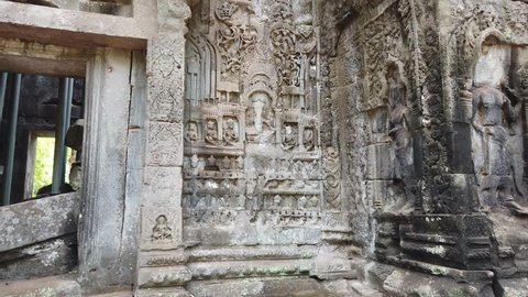 bas-relief in Banteay Kdei temple, Angkor Wat temple complex, Cambodia.