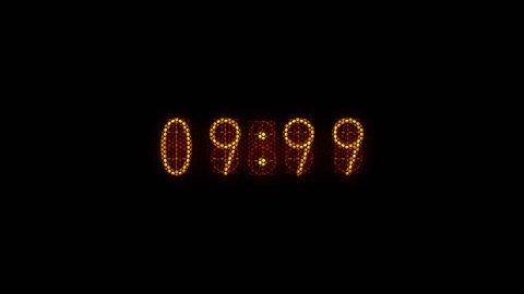 Countdown of 10 seconds. Retro nixie tube digital number display. Nostalgic type.