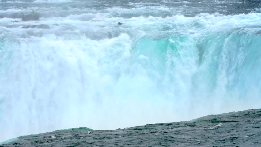 NIAGARA FALLS, ONTARIO, CANADA. Crystal clear glacier water stream dropping over the cliff. Aerial view of the Horseshoe Falls. Slow motion.