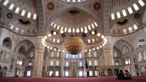 ANKARA, TURKEY, MAY 3, 2019: Interior shot of Kocatepe Mosque, the largest mosque in Ankara, the capital of Turkey.