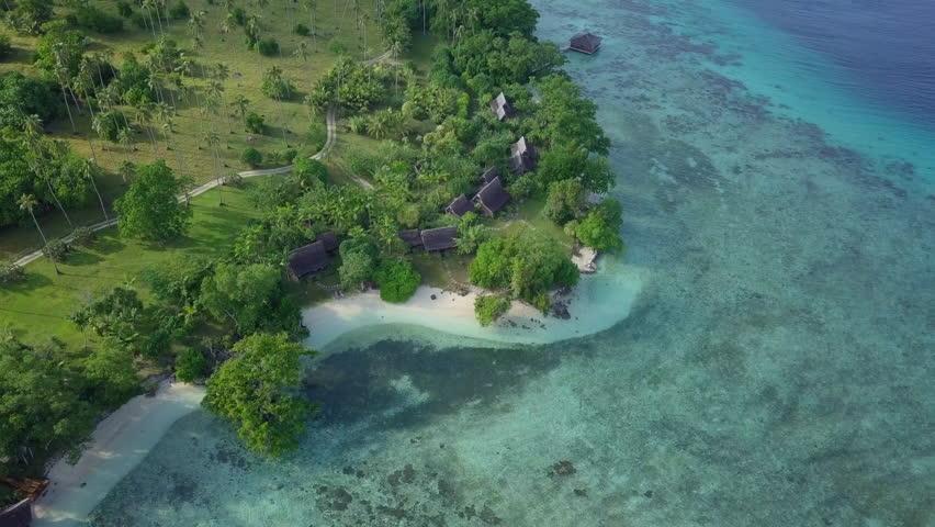 Aerial: Bungalows and Boats on an Island in Espiritu Santo, Vanuatu | Shutterstock HD Video #1029048815