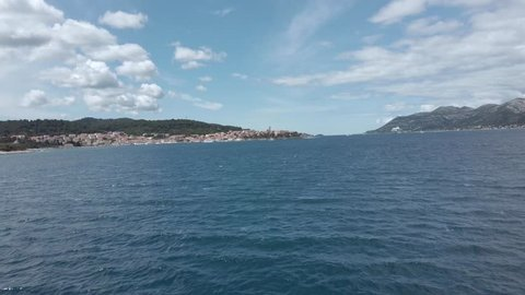 Korcula town - view from the sea, on a sunny day