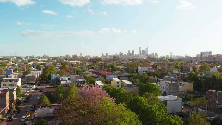Ascending aerial view of Philadelphia skyline from north to south 4K | Shutterstock HD Video #1029139775