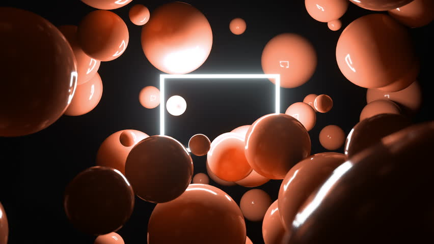 Abstract 3d balls flying around light blinking square. 4K animation loop. | Shutterstock HD Video #1029159395
