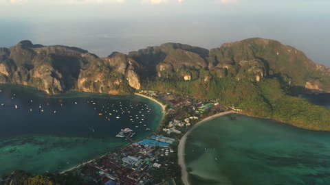 Aerial view at tropical island Phi-Phi in Province Krabi one of the most popular island of Thailand for diving and family holidays away from the hustle and bustle in Thailand.