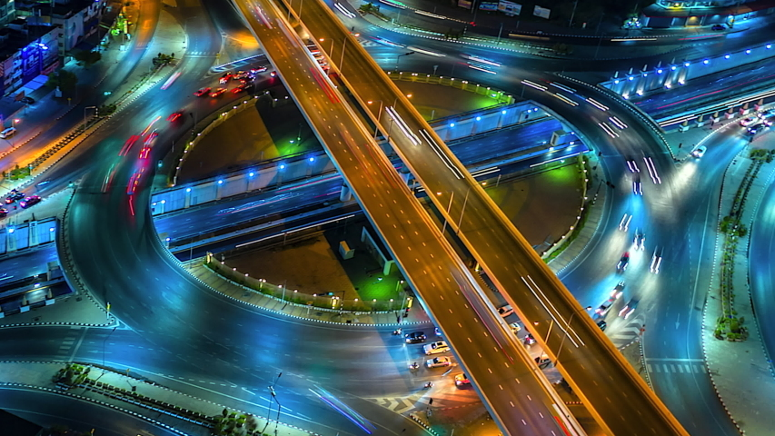4K,Time lapse night  traffic of the expressway, motorway and highway in the detail of Circle intersection  #1029341405