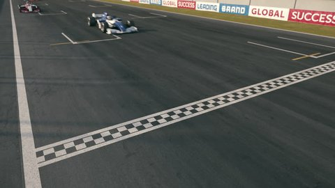 Static top view of generic formula one race cars driving across the finish line - realistic high quality 3d animation