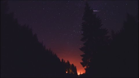 Timelapse of moving stars in night sky mountain forest. The Milky Way galaxy rotating over the pines silhouettes in summer time