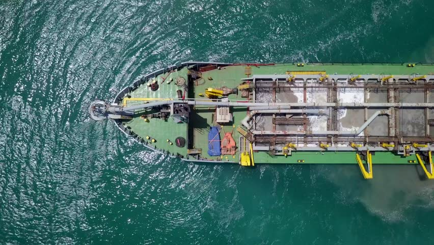Aerial footage of a Trailing suction hopper dredger at sea. | Shutterstock HD Video #1029420275