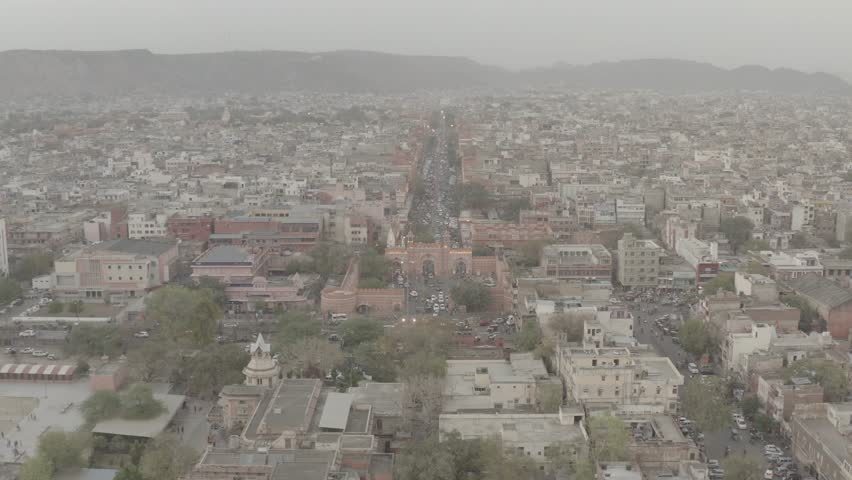 Jaipur pink city, 4k aerial drone, ungraded/flat raw footage | Shutterstock HD Video #1029423095