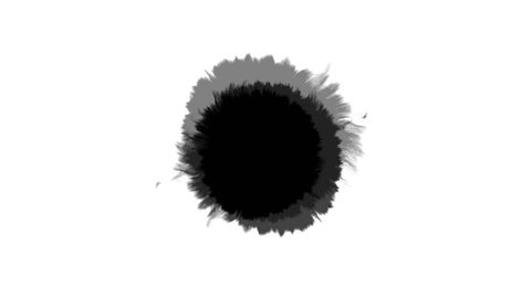 Beautiful white watercolor ink drops transition on black background, paint bleed Bloom, with circle organic flow expanding, pure splatter spreading. Perfect for motion graphics, digital composition
