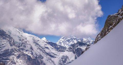 Mount Everest (8,848 m) from Cho La pass (5,420 m), Sagarmatha, Himalayas, Nepal.