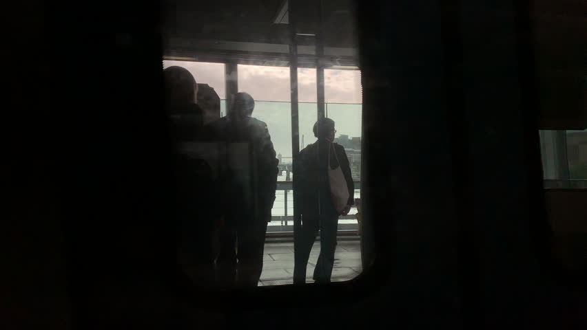 Silhouettes of commuters on the passing train in London | Shutterstock HD Video #1029473075