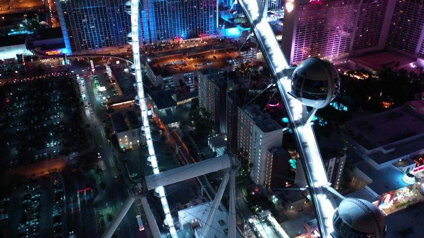 Las Vegas City Downtown Strip Nevada Night Aerial | Shutterstock HD Video #1029485855