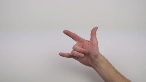 hand shows rock n roll goat sign on transparent white background