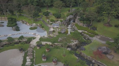 Aerial view of japanese garden. Japanese garden in the park