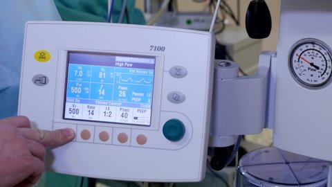 Using anesthesia machine in operating room, Close-up, 4k shot