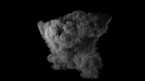Realistic fireball explosion with huge smoke blast 3D animation. Isolated on black VFX action element. Powerful massive gasoline detonation with flame and smoke puff. Alpha channel included. 4K